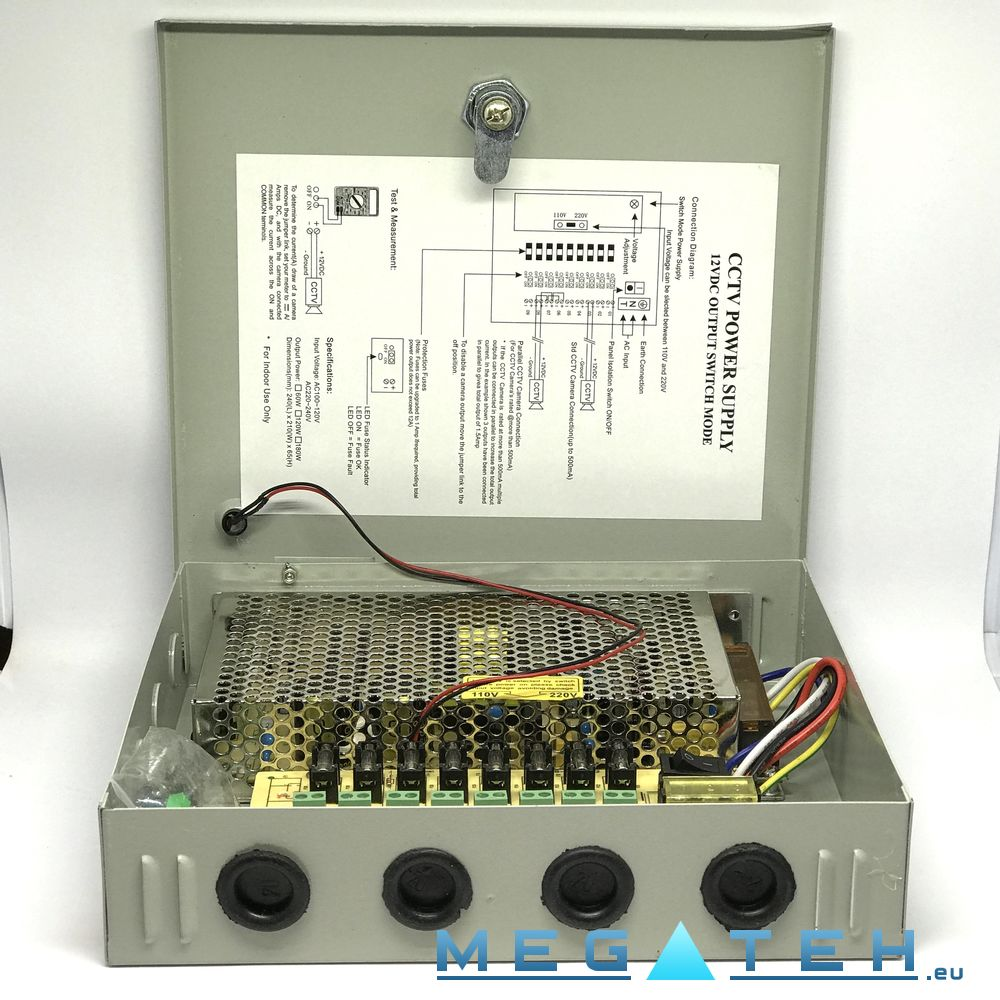 Cctv Camera Power Supply Box 12v 7a 8ch Online Shop Dome Wiring Diagram